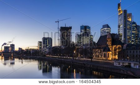 View on Frankfurt on Main Busines buildings at night