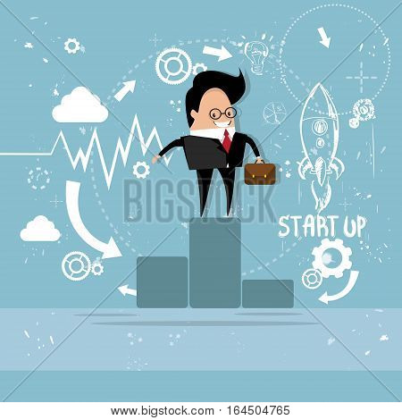 Business Man Standing On Podium Project Successful Startup With Flying Rocket Flat Vector Illustration