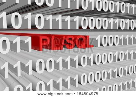 PL SQL is presented in the form of binary code 3d illustration