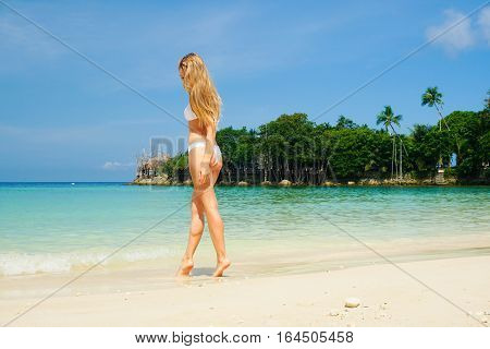 Blond Woman on the Beach. Perfect Vacation. Phangan island, Thailand