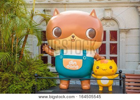 Hong Kong, China - December 5, 2016: close up of Din-Dong, statue of famous characters, in Hong Kong Avenue of Comic Stars, Kowloon Park. Defocused background.