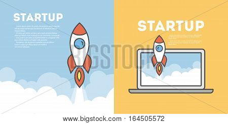 Startup rocket concept. Big beautiful red rocket flying in the sky. Idea of new ideas, innovations and development.
