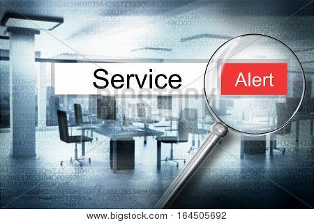 reading the word service browser search security alert 3D Illustration