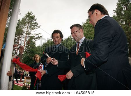 ZHURAVYCHI UKRAINE - 12 September 2008: Minister of Internal Affairs Yuriy Lutsenko (right) and European Union authorities during the Ceremonial opening of temporary residence of foreigners and stateless persons who illegally stay in Ukraine