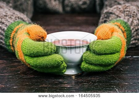Human hands in bright-color wool gloves holding white cup of cambric tea. Front view