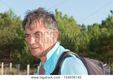 Man With The Gray Hair Senior Outdoors