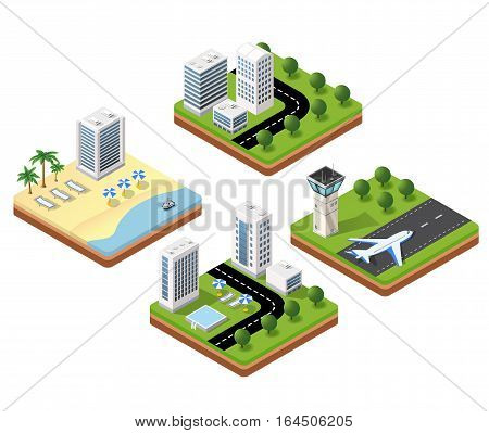 3D isometric icons travels with beach landscape with the hotel and the parasols the airport terminal and a hotel with a swimming pool