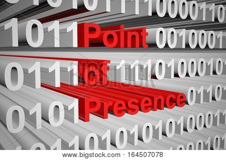 point of presence in the form of binary code, 3D illustration