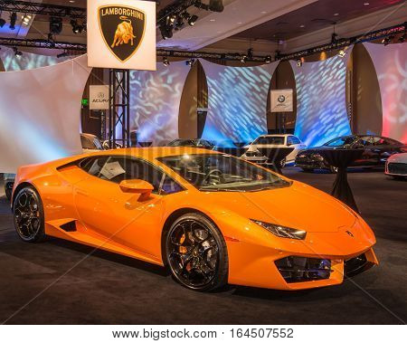 DETROIT MI/USA - JANUARY 8 2017: A Lamborghini Huracan car at The Gallery, an event sponsored by the North American International Auto Show (NAIAS) and the MGM Grand Detroit.
