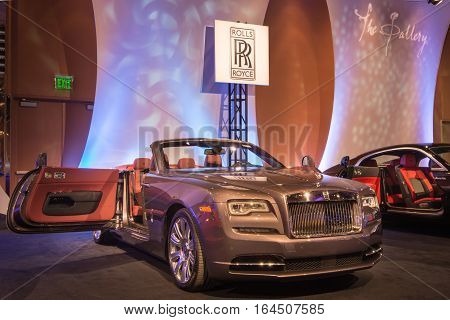 DETROIT MI/USA - JANUARY 8 2017: A Rolls Royce Wraith car at The Gallery, an event sponsored by the North American International Auto Show (NAIAS) and the MGM Grand Detroit.