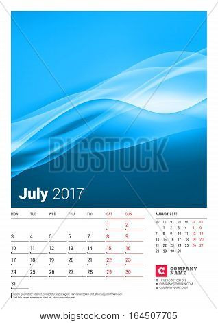 July 2017. Wall Monthly Calendar For 2017 Year. Vector Design Print Template With Place For Photo. W