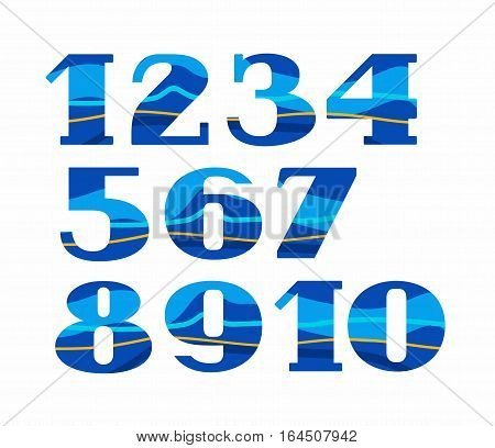 Numbers, color, waves, vector. Colored, flat figures with serifs. Blue, Aqua. The wavy lines.
