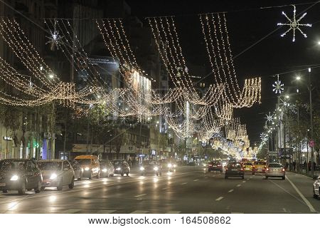 Bucharest Romania - December 02 2015: Nightscene in Bucharest center when the Christmas lights and decorations are on.