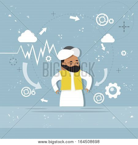 Arab Business Man Showing Finance Chart Graph Report Vector Illustration