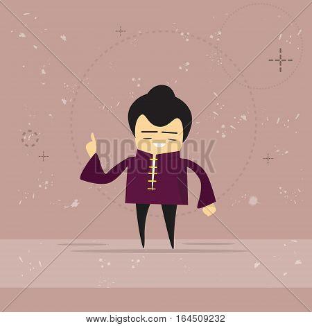 Asian Man Asia Cartoon Character Mix Race Businessman Flat Vector Illustration