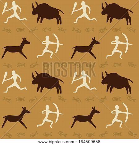 Vector Seamless Pattern with Cave Drawings Theme, hunting caveman and wild animals