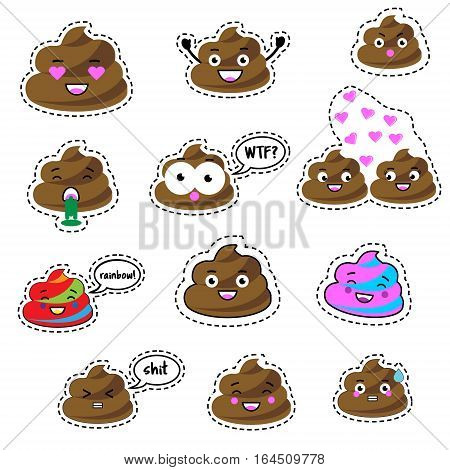 Colorful pins patches labels stickers isolated on white. Funny turd poop character. Design elements icons emoji emoticon. Vector illustration