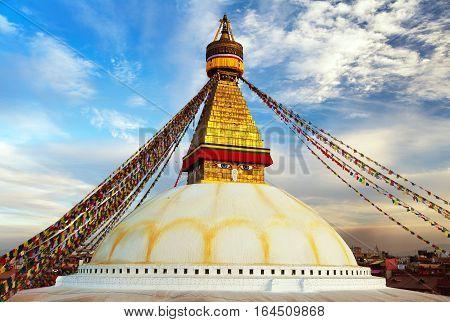 Evening view of Bodhnath stupa with prayer flags - Kathmandu - Nepal