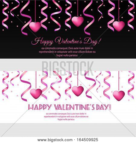 St Valentines day horizontal banners with hanging pink streamers and hearts. Design template for party invitation romantic events speed dating social media promotion