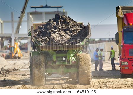 Loaded Dump Truck At Construction Site