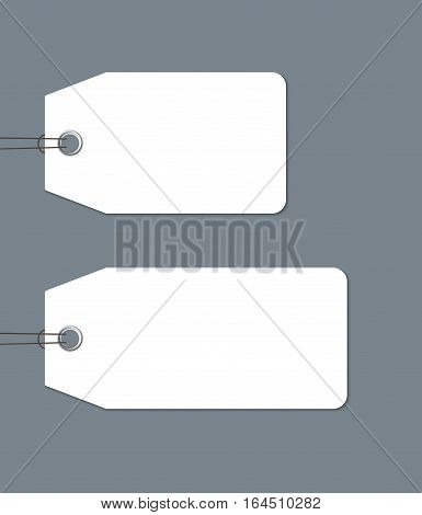 Blank gift tags tied with a string isolated on dark background, realistic vector template