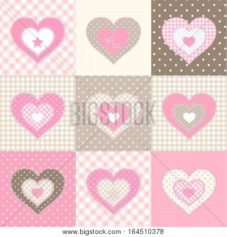 Set of nine pink hearts in country style, valentine's day theme, vector illustration, eps 10