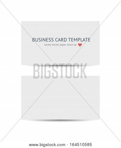 Two business cards template mockup isolated on white background. Realistic vector white paper card mock up for graphic designers presentations and portfolios, promotion of compny branding identity