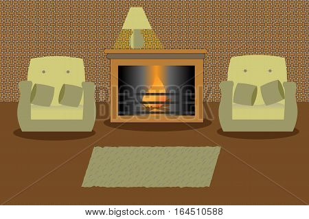 Living room with fireplace and turned on a lamp on it. Two green armchairs and a carpet.
