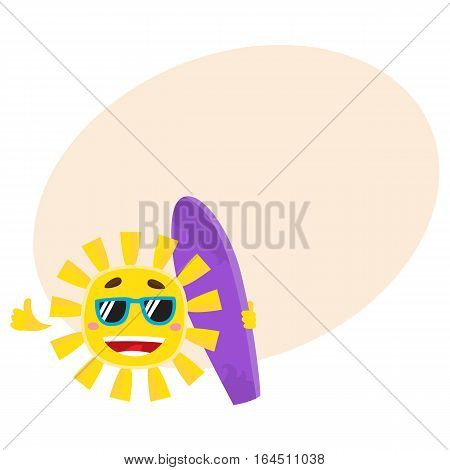 Smiling sun wearing sunglasses and holding surf board, cartoon vector illustration on background with place for text. Funny sun character in sunglasses holding surfboard, symbol of summer and vacation