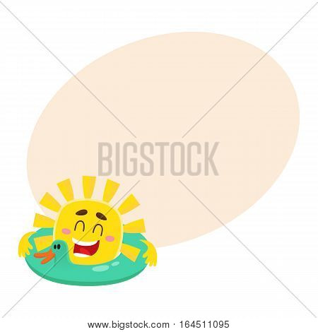 Smiling, happy sun swimming in duck shaped floating ring, cartoon vector illustration on background with place for text. Funny sun character with safery ring, symbol of summer and vacation