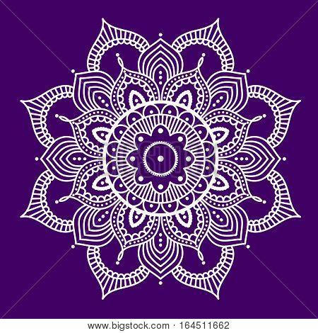 White abstract mandala on purple background, ethno motive, vector illustration, eps 10