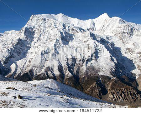 View of south rock face of mount Annapurna 3 III Annapurna range Annapurna circuit trekking trail Nepal