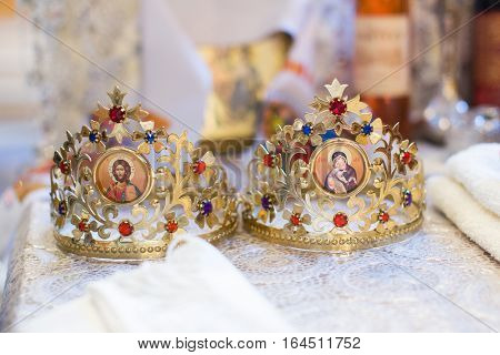 Ceremonial Crowns As Orthodox Wedding Accessories.