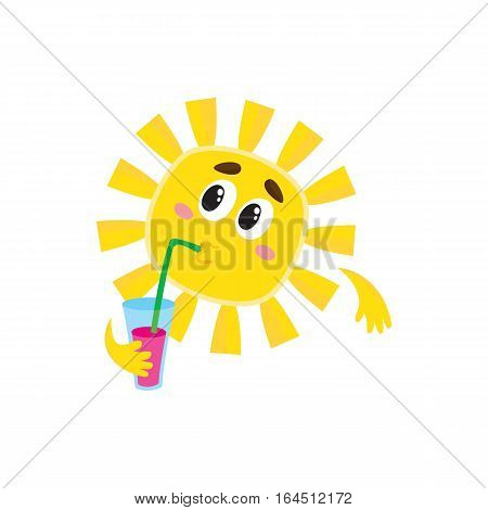Thoughtful sun drinking cocktail through a straw, cartoon vector illustration isolated on white background. Cute and funny sun character with a soft drink, symbol of summer and vacation