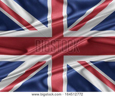 United Kingdom flag. Flag with a beautiful glossy silk texture. 3D illustration.