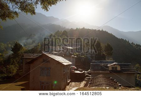 Bupsa village lodges on the way to Lukla Trek to Everest base camp Nepal poster