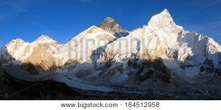 Mount Everest Evening panoramic view of Mount Everest from Kala Patthar - Way to Mount Everest base camp Sagarmatha national park Khumbu valley Nepal