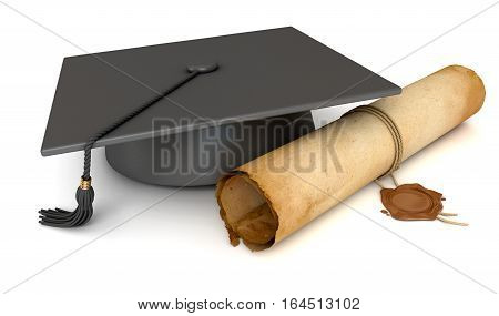 Graduation cap and diploma. Old Scroll paper with wax seal. Conceptual illustration. Isolated on white background. 3D illustration. 3D rendering