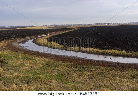 Agricultural landscape with an earth road between fields in late autumnal season in central Ukraine