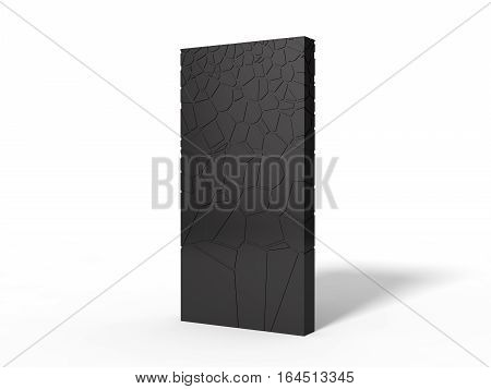 3d illustration of black monolith with extruded forms on surface. isolated on white.