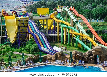 Aerial view at the biggest aquapark in Ukraine