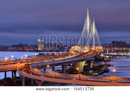 Saint-Petersburg Russia - December 28 2016: Night View Cable stayed bridge over Petrovsky Fairway as part of Western High Speed Diameter.