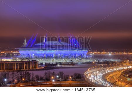 Saint-Petersburg Russia - December 29 2016: Western High-Speed Diameter in St. Petersburg near the football Zenith Arena stadium FIFA World Cup in 2018 at night.