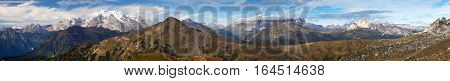 Panoramic view from Passo Giau to Sella gruppe and Marmolada Dolomites Alps Mountains Italy