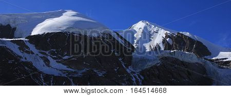 Landscape in the Annapurna Conservation Area Nepal. High mountain Khatung Kang and glacier. poster