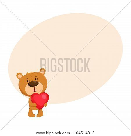 Cute traditional, retro style teddy bear character holding a big red heart, cartoon vector illustration on background with place for text. Teddy bear character with Valentine red heart