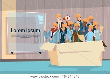 Builder Team Architect Mix Race Workers Human Resources Flat Vector Illustration