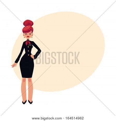 Full length portrait of beautiful red haired stewardess in black uniform, cartoon vector on background with place for text. Cartoon air stewardess, cabin crew wearing black uniform and red tie