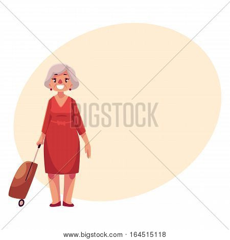 Old, senior, elder woman in red dress with suitcase in airport, cartoon illustration on background with place for text. Full length portrait of old lady, senior woman traveler with luggage, suitcase