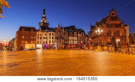Cityscape of Nijmegen squre at dusk twilight The Netherlands